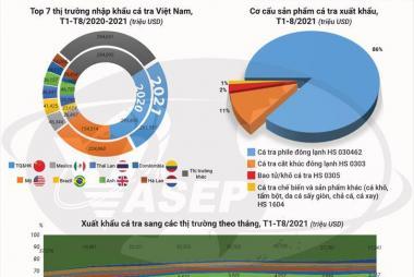 Infographic: Xuất khẩu cá tra Việt Nam 8 tháng đầu năm 2021